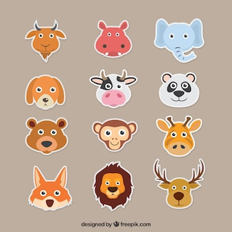 フラットなデザインのカラフルな動物の装飾パック