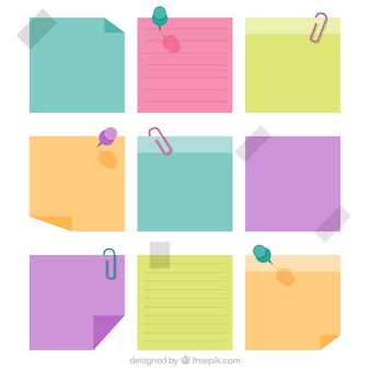 Decorative paper notes in pastel colors