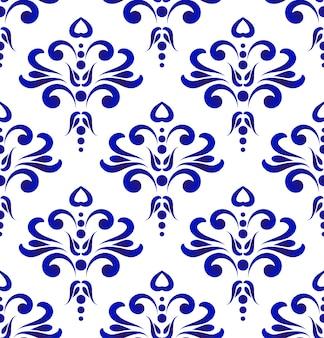 Орнамент синий и белый