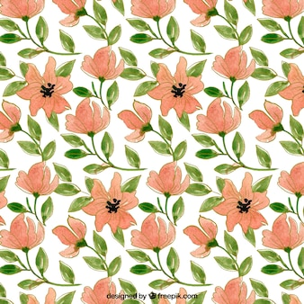 Decorative pattern of flowers and watercolor leaves