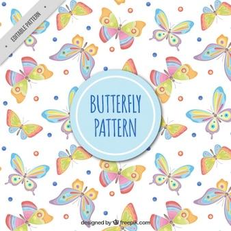 작은 동그라미와 나비 장식 패턴