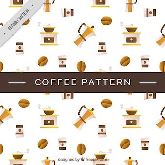 평면 디자인에 커피 요소의 장식 패턴