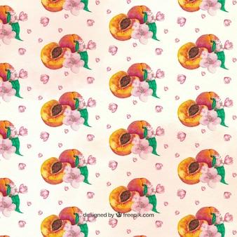 Декоративный рисунок из персиков и розовых цветов
