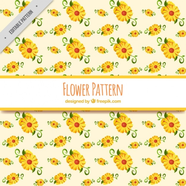 9d88874d5 Decorative pattern of yellow flowers in watercolor style