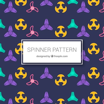 Decorative pattern of spinners in flat design