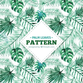 Decorative pattern of watercolor palm leaves
