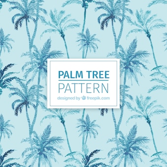 Decorative pattern of watercolor palms