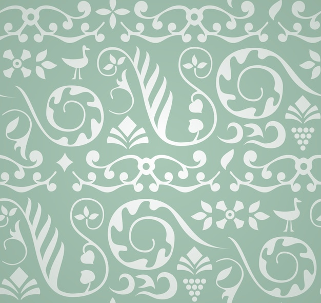 Decorative pattern with birds and elements of plants