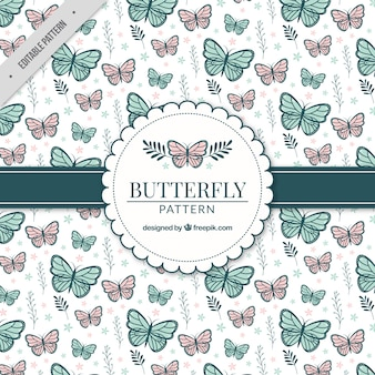 Decorative pattern with butterflies and plants