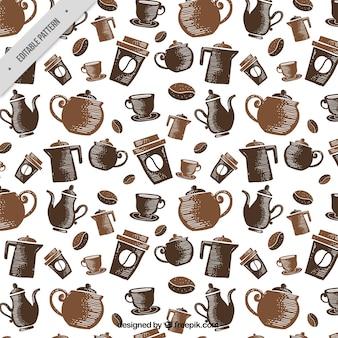 Motivo decorativo con caffettiere