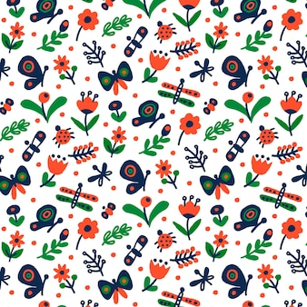 Motivo decorativo con diversi fiori e insetti