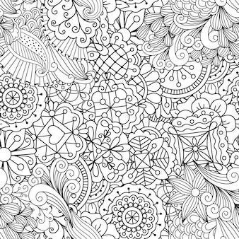 Decorative pattern with linear flowers