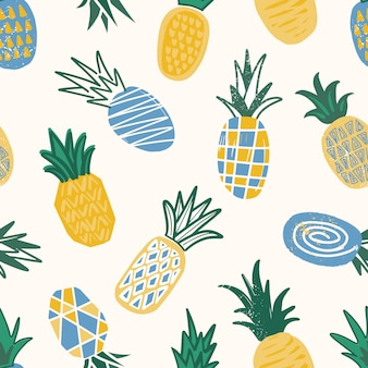 Decorative pattern with textured pineapples on light background.