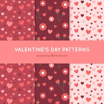 Decorative patterns of flowers and valentine hearts