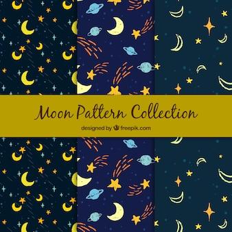 Disegni decorativi di stelle disegnate a mano e luna