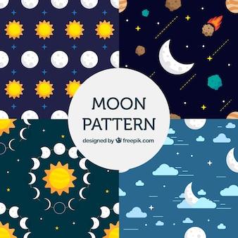 Motivi decorativi di luna nel design piatto