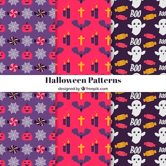 Decorative patterns with halloween elements in flat design