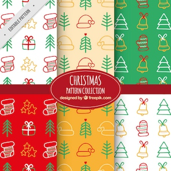 Decorative patterns with hand-drawn elements for christmas