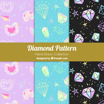 Decorative patterns with precious stones in hand-drawn style