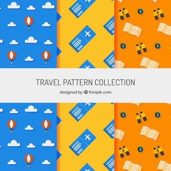 평면 디자인의 여행 요소가있는 장식 패턴