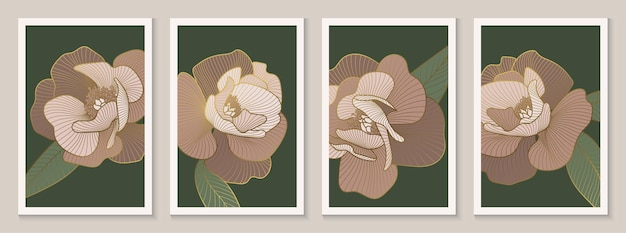 Decorative peonies wall art decor luxury gold floral line art posters set vector illustration