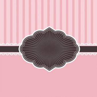 Decorative pink invitation with vintage badge