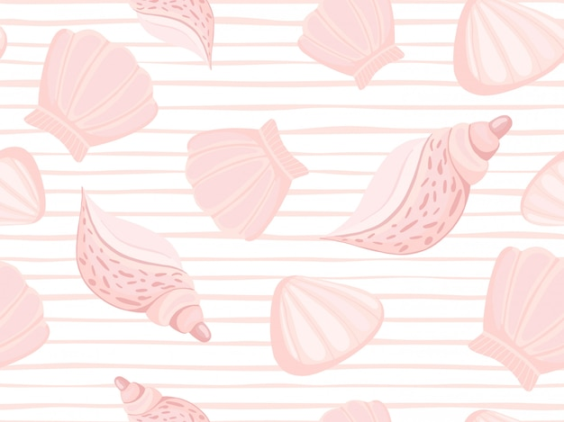 Decorative pink seashells stripe pattern