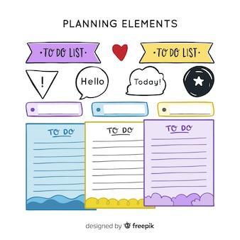 Set di elementi decorativi di pianificazione