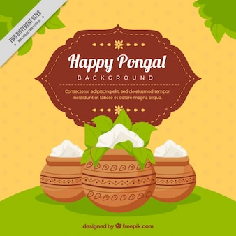 Decorative pongal background with pots