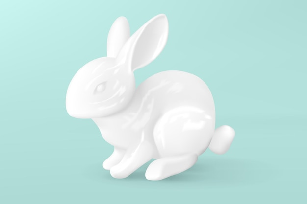 装飾的な磁器の白いうさぎ。イースターのウサギ