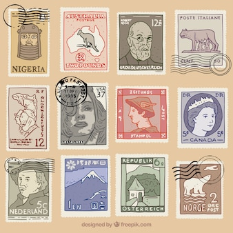 Decorative post stamps in retro style