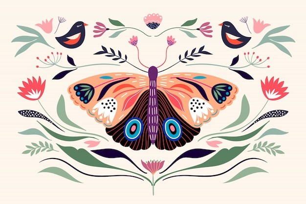 Decorative poster banner composition with floral elements, butterfly,different flowers and plants