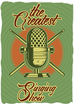 Декоративный дизайн плаката с иллюстрацией микрофона и палочек. буквенная композиция.
