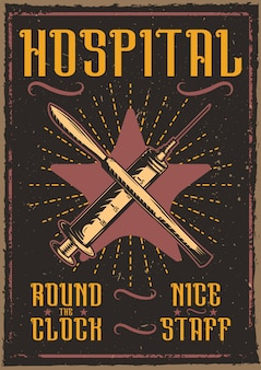 Decorative poster design with illustration of a syringe and a scalpel