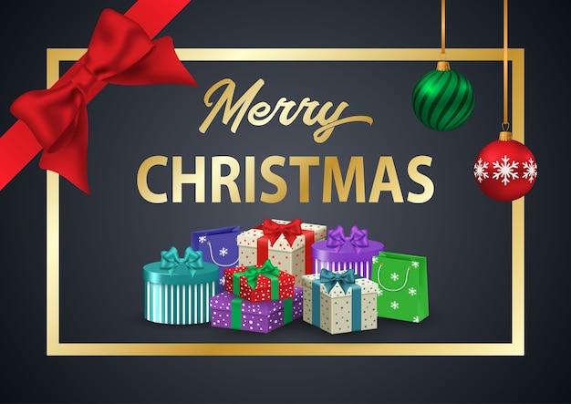 装飾ポスターメリークリスマス。赤いリボンとカラフルなギフトが付いたゴールドフレームの碑文。