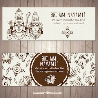 Decorative ram navami banners in hand-drawn style