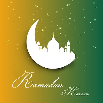 Decorative ramadan background with moon and mosque