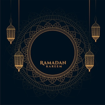 Decorative ramadan kareem background with arabic lanterns