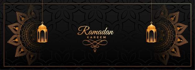 Decorative ramadan kareem banner with mandala art