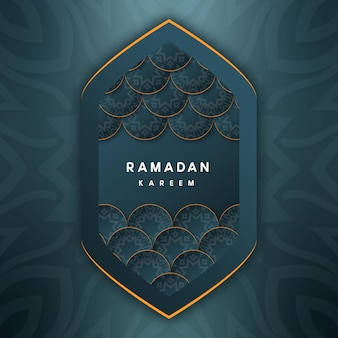 Decorative ramadan kareem greetings with green background