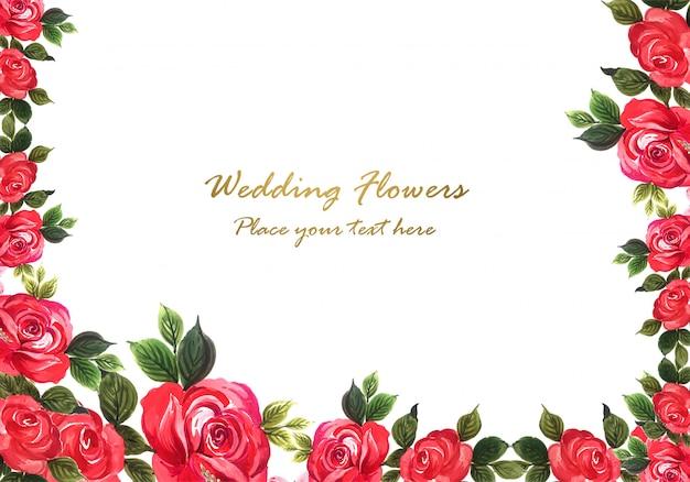 카드 템플릿 장식 빨간 아름다운 장미