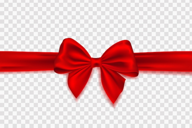 Decorative red bow with horizontal red ribbon for gift decor. bow with ribbons