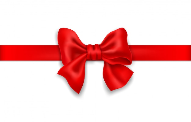Decorative red bow with horizontal red ribbon.
