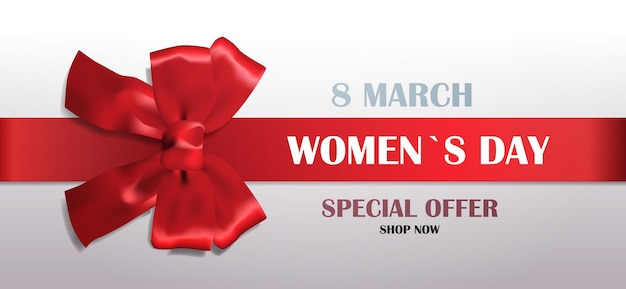 Decorative red bow with ribbon womens day 8 march holiday sale special offer concept greeting card poster or flyer horizontal illustration