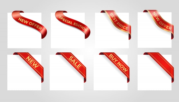 Decorative red sale banner isolated on background.