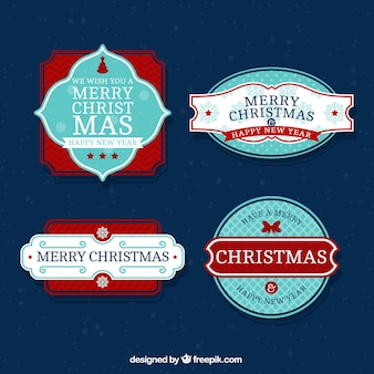 Decorative retro christmas stickers pack and happy new year