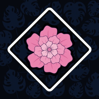 Decorative rhombus frame with beautiful pink flower