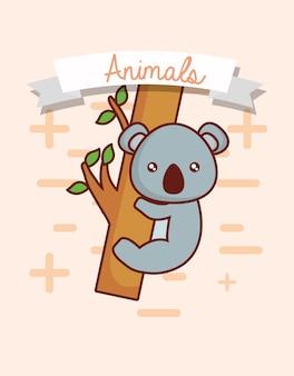 Decorative ribbon and cute koala over white background
