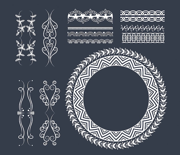 Decorative ribbon emblems cartoon