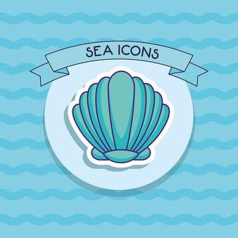 Decorative ribbon and seashell icon